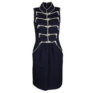 CHANEL 09P Navy Embellished Pearl Sleeveless Dress 38 Uk 8