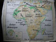 Ancienne carte scolaire VIDAL LABLACHE Afrique Physique n°16 affiche déco