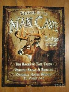 Man Cave Deer Buck Hunter Bar Lodge Comical Hanging Metal Wall Art Sign Poster