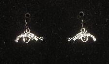 Gun Earrings Silver Tone Pierced Crystal Accents Revolver Drop Pistol Jewelry