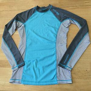 RIPCURL UPF Protection Rash Guard Aqua Gray Stripe Long Sleeve Top - Junior's M
