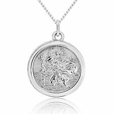 """20mm St Christopher 925 Sterling Silver Pendant + 18"""" Inch Curb Chain (Saint)"""