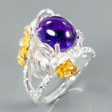 Jewelry Fine Art Natural Amethyst 925 Sterling Silver Ring Size 8.5/R99944