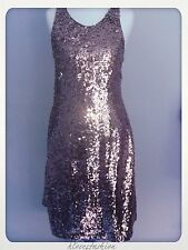 ✨NEW LOOK Sequin Midi Dress Grey Silver Racer Back UK 12 EU 40 US 8 £60 FAST📮✨