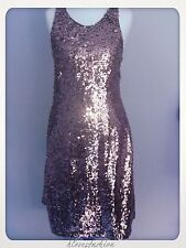 ✨NEW LOOK Sequin Midi Dress Grey Silver Racer Back UK 12 EU 40 £60 FAST����✨