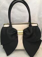 BETSY JOHNSON Classic Ivory Black Big Bow Faux Leather Satchel Bag