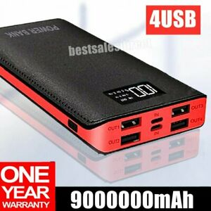9000000mAh Portable Power Bank LED 4 USB Fast Battery Pack Charger For Phone