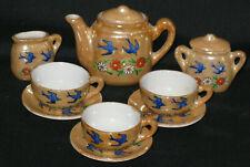 Vintage Japan Lusterware Childs Doll Tea Set Birds & Flowers Teapot Saucers Cups