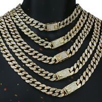 "Miami Curb Cuban Chain 14k Gold PT Fully Cz Choker Necklace Hip Hop Link 16""-30"""