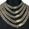 "Miami Curb Cuban Chain 14k Gold PT Fully Cz Choker Necklace Hip Hop Link 16""-30"""