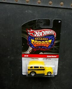 """HOT WHEELS """"SCHOOL BUSTED"""" SCHOOL BUS YELLOW BLK WALL REAL RIDERS LARRY'S GARAGE"""