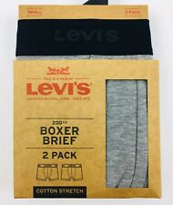 LEVI'S  2-Pack Boxer Brief Underwear Grey Cotton Stretch Size Small 28-30 NEW