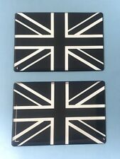 UNION JACK FLAG Stickers Decals 2 x 64mm - CHROME & BLACK - HIGH GLOSS DOMED GEL