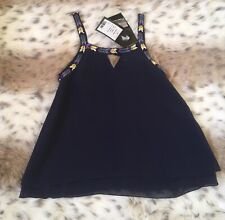 NWT Flowers by Zoe Girls Embellished Top Sleeveless Navy Size Small