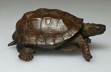 An Exquisite Meiji Period Miniature Bronze Articulated Tortoise Okimono.Signed.