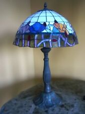 DESK LAMP HAND CRAFTED STAINED GLASS TABLE BRONZE FINISH 24 INCH FLOWER T13