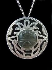 Vtg Aztec Mayan Necklace Brooch 925 Sterling Silver Mexico Green Obsidian