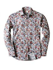 Mens Long Sleeve Dress Shirts Button Down Slim Fit Casual Paisley Fashion Tee