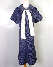 vtg 60s 70s mod Navy Blue White Ascot Dress A-Line Textured Polyester sz 24.5