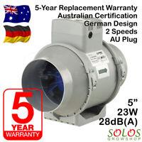 """5"""" 125mm HYDROPONIC INLINE EXHAUST FAN SILENT VENTILATION BLAUBERG 125 AU PLUG"""