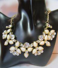 Collier Weiß Creme Zirkon Blume Halskette Blogger Vintage Choker  Boho