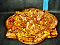 "10"" Vintage Ceramic Ashtray Large  Drip Orange Brown Yellow Speckled MCM"