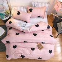 Black Hearts Print Pink Duvet Covers 3PCS King Queen Full Valentines' Beddings