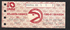 Atlanta Hawks vs Philadelphia 76ers December 2 1980 Vintage Ticket Stub