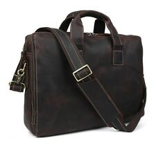 TIDING Vintage Style Crazy Horse Leather Mens Briefcase Shoulder Bag Laptop Tote