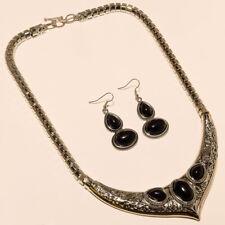 Turkish Boho Necklace Black Onyx Jewelry Black Onyx Necklace Earring 925 Silver