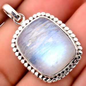 Natural Rainbow Moonstone - India 925 Sterling Silver Pendant Jewelry 8030