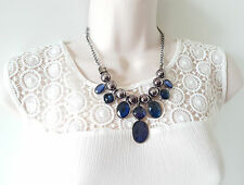 """Stunning 16"""" long hematite & blue sapphire colour crystal drop chain necklace"""