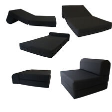 Full Size Black Sleeper Chair Folding Foam Bed 6 x 48 x 72, 1.8 lb Density Foam
