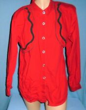 Blue Canyon Western Wear M Red Blouse Black Swirls Tim.Collar.Silver Buttons