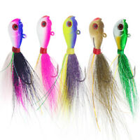 3D Eyes Bucktail Jigs Lead Teaser Jigging Lure Saltwater Fishing Lures 5 Colors