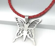 Silver Stainless Steel Butterfly Pendant Braided Red Leather Choker Necklace