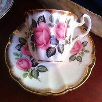 Adderley Tea Cup and Saucer Pink Cabbage Roses Heavy Gold Bone China 50s England