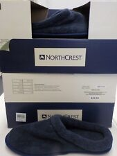 MENS NORTHCREST LARGE 11-12 NAVY BLUE MEMORY FOAM SLIPPERS IN/OUTDOOR NEW #7759