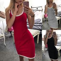 Sexy Women Summer Casual Tank Dress Bodycon Sleeveless Slim Fit Short Mini Dress