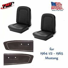 Front and Rear Seat Cover Upholstery & Door Panel Set  1964 - 65 Mustang Black