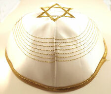 Gold White Star Of David Satin Yarmulke Kippah 20 cm Cupples Jewish Kippa Hat