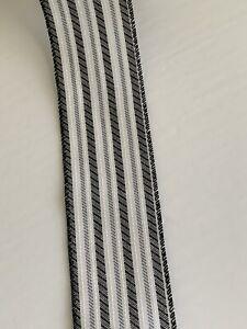 "10 Yds Of 2 1/2"" Wired Black & Light Grey Ticking Stripe Faux Linen Ribbon"
