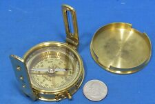 Brass Compass ~ Directional Sighting Style ~ With Cover