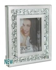 "Beautiful Astoria Silver Floating Crystals Photo Frame Holds 5x7"" Picture"