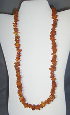 VINTAGE 28 INCH LONG AMBER CHUNK NECKLACE