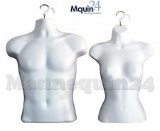 MALE & FEMALE HANGING TORSO DRESS FORM SET - WHITE HARD PLASTIC MANNEQUINS
