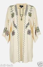 Topshop Cream Azteco Ricamato Vintage Kimono Caftano Giacca Cardigan 10 12 38 US6