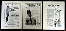 Meccano Toy Aircraft Derrick Crane 3 Antique Model Advertisements 1914 1916 1918