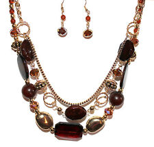 Gold Tone Brown Crystal Multi Layer Strand Beaded Autumn Topaz AB Necklace Set