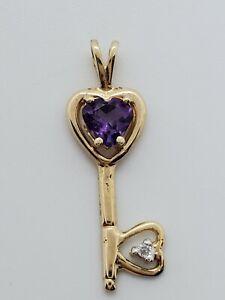 10k Yellow Gold Deep Purple Amethyst 5mm Heart Diamond Key Pendant Charm .9 Gram